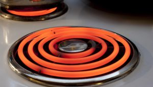 Red hot element on a stove